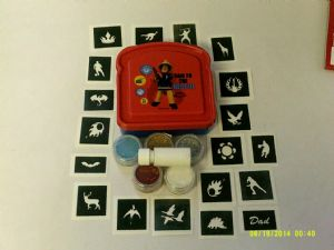 Fireman Sam glitter boys tattoo set - 40 mixed boys stencils + 5 colours + glue Christmas present gift